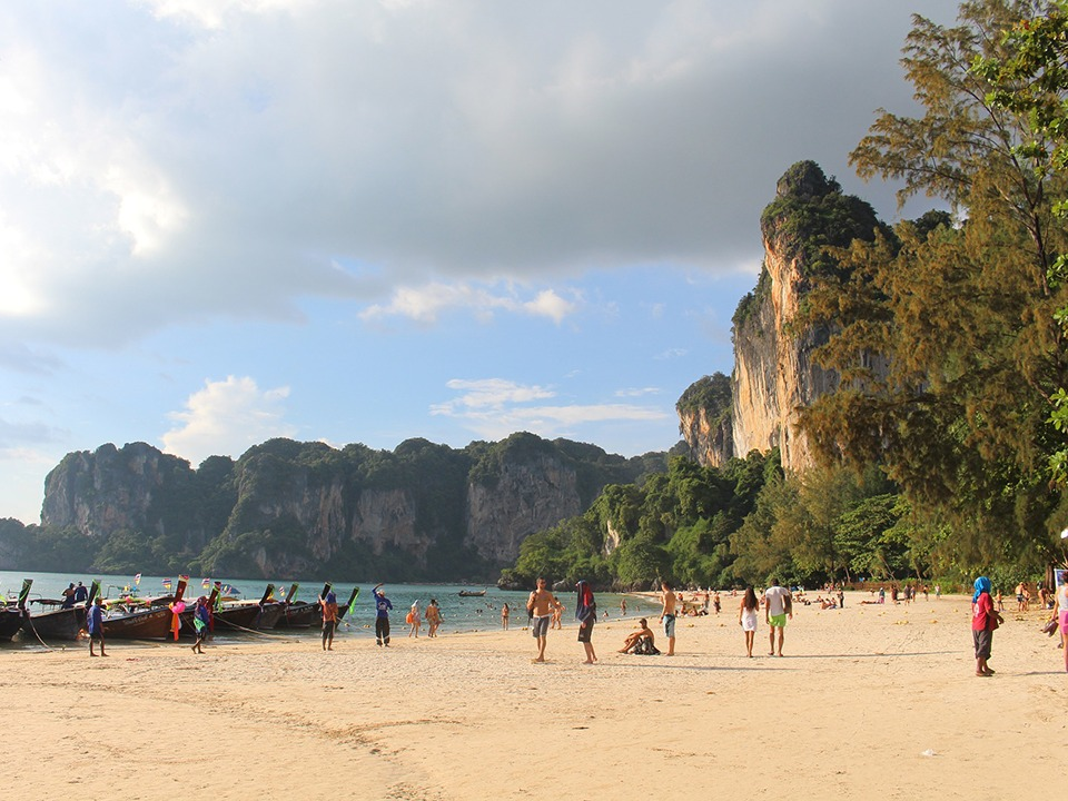 Krabi to Railay krabi town to railay beach Krabi Town to Railay Beach by Longtail boat Beautiful white sandy beach with turquoise water at Railay beach