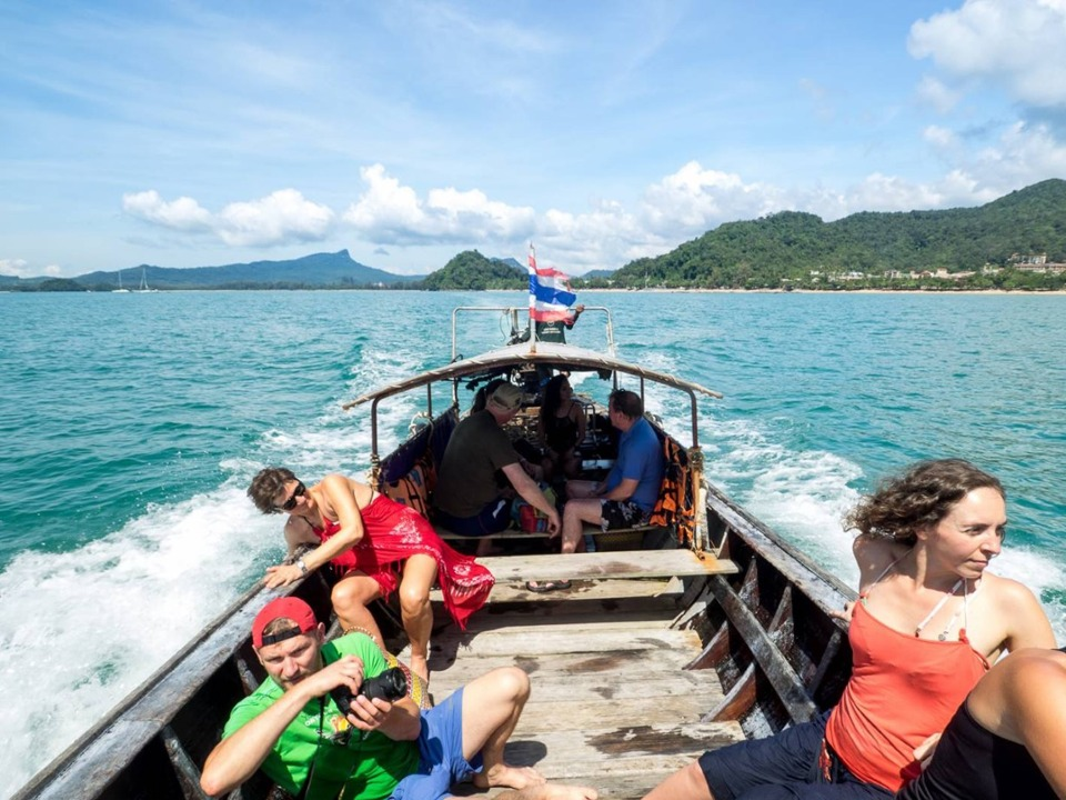 krabi town to railay beach Krabi Town to Railay Beach by Longtail boat Longtail boat heads to the pier on East Railay