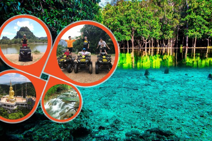 Jungle Tour to Emerald pool , Krabi Hot Spring waterfall and Tiger Cave Temple with ATV Riding