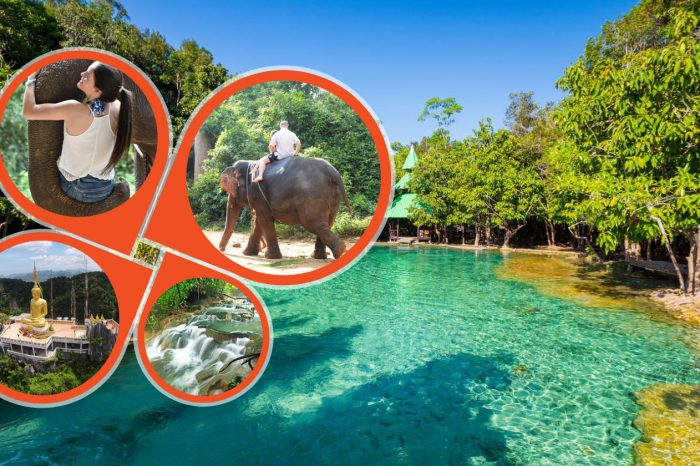 Jungle Tour to Emerald pool , Krabi Hot Spring waterfall and Tiger Cave Temple with Elephant Trekking