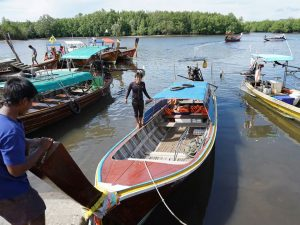 Longtail boats transfer from Kuan Tung Ku pier to Koh Mook. Longtail boats transfer from Kuan Tung Ku pier to Koh Mook