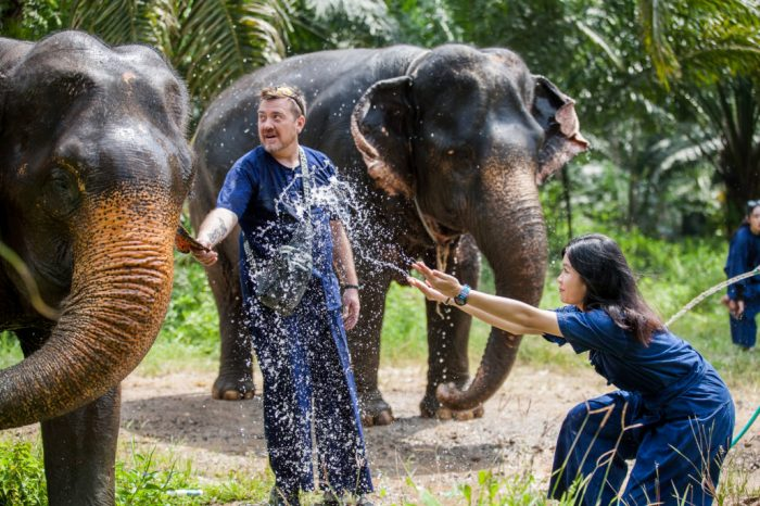 Krabi Elephant House Sanctuary things to do Things to Do, Destination, Tours & Activity splash the water to an elephant 1030x687 700x466